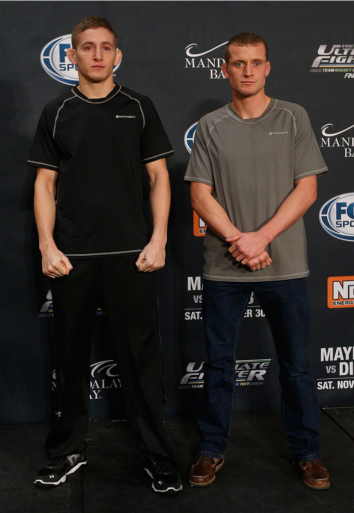 LAS VEGAS, NV - NOVEMBER 27:  (L-R) The Ultimate Fighter bantamweight finalists Chris Holdsworth and David Grant pose for photos during media day ahead of The Ultimate Fighter season 18 live finale inside the Mandalay Bay Events Center on November 27, 2013 in Las Vegas, Nevada. (Photo by Josh Hedges/Zuffa LLC/Zuffa LLC via Getty Images)