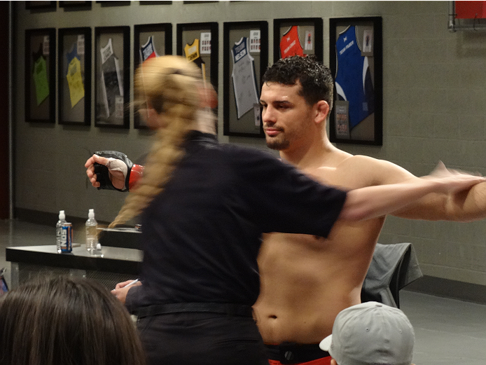 Patrick Walsh gets checked out before stepping into the Octagon at the Ultimate Fighter elimination fights.