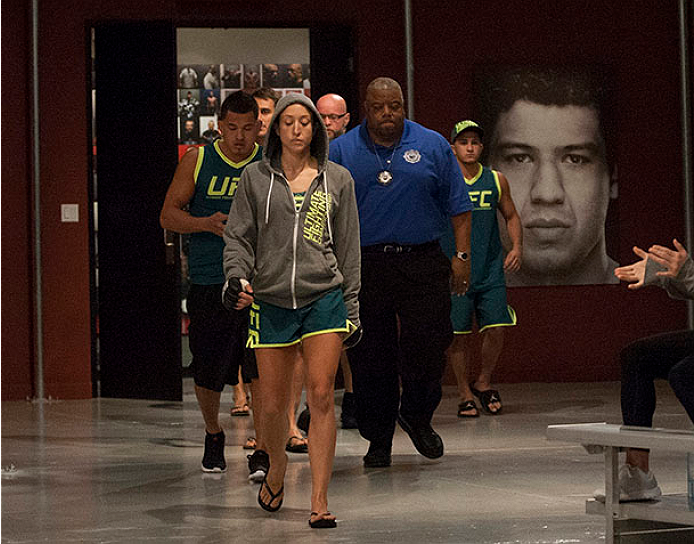 LAS VEGAS, NV - JULY 15:  Team Pettis fighter Jessica Penne prepares to enter the Octagon before facing team Melendez fighter Lisa Ellis during filming of season twenty of The Ultimate Fighter on July 15, 2014 in Las Vegas, Nevada. (Photo by Brandon Magnus/Zuffa LLC/Zuffa LLC via Getty Images) *** Local Caption *** Jessica Penne