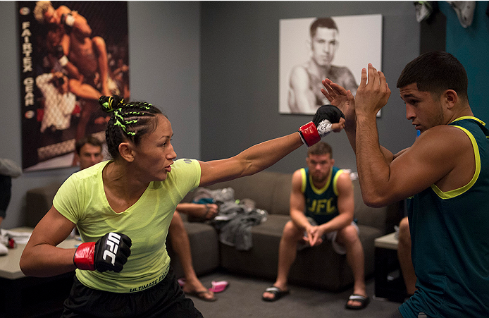 LAS VEGAS, NV - JULY 18:  Team Pettis fighter Carla Esparza warms up before facing team Melendez fighter Angela Hill during filming of season twenty of The Ultimate Fighter on July 18, 2014 in Las Vegas, Nevada. (Photo by Brandon Magnus/Zuffa LLC/Zuffa LLC via Getty Images) *** Local Caption *** Carla Esparza