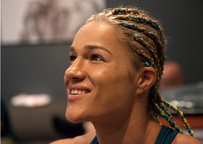LAS VEGAS, NV - JULY 18:  Team Pettis fighter Felice Herrig gets her hands wrapped before facing team Melendez fighter Heather Jo Clark during filming of season twenty of The Ultimate Fighter on July 18, 2014 in Las Vegas, Nevada. (Photo by Brandon Magnus/Zuffa LLC/Zuffa LLC via Getty Images) *** Local Caption *** Felice Herrig