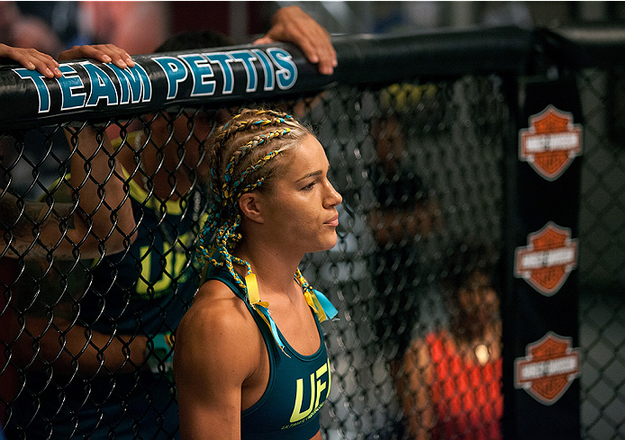 LAS VEGAS, NV - JULY 18: Team Pettis fighter Felice Herrig enters the Octagon before facing team Melendez fighter Heather Jo Clark during filming of season twenty of The Ultimate Fighter on July 18, 2014 in Las Vegas, Nevada. (Photo by Brandon Magnus/Zuffa LLC/Zuffa LLC via Getty Images)