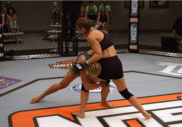 Felice Herrig shoots for the takedown