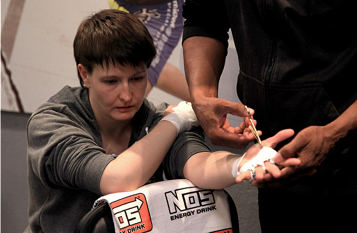 LAS VEGAS, NV - JULY 18:  Team Pettis fighter Aisling Daly gets her hands wrapped before facing team Melendez fighter Angela Magana during filming of season twenty of The Ultimate Fighter on July 18, 2014 in Las Vegas, Nevada. (Photo by Brandon Magnus/Zuffa LLC/Zuffa LLC via Getty Images) *** Local Caption *** Aisling Daly