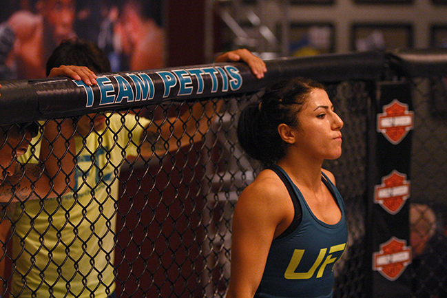 LAS VEGAS, NV - JULY 8:  Team Pettis fighter Randa Markos enters the Octagon before facing team Melendez fighter Tecia Torres during filming of season twenty of The Ultimate Fighter on July 8, 2014 in Las Vegas, Nevada. (Photo by Brandon Magnus/Zuffa LLC/Zuffa LLC via Getty Images) *** Local Caption *** Randa Markos
