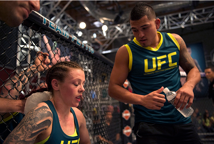 LAS VEGAS, NV - JULY 10:  Team Pettis fighter Joanne Calderwood gets advice form Head Coach Anthony Pettis in between rounds against team Melendez fighter Emily Kagan during filming of season twenty of The Ultimate Fighter on July 10, 2014 in Las Vegas, Nevada. (Photo by Brandon Magnus/Zuffa LLC/Zuffa LLC via Getty Images) *** Local Caption *** Joanne Calderwood;Anthony Pettis