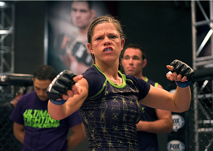 LAS VEGAS, NV - JULY 10:  Team Melendez fighter Emily Kagan stares down the camera after fighting team Pettis fighter Joanne Calderwood during filming of season twenty of The Ultimate Fighter on July 10, 2014 in Las Vegas, Nevada. (Photo by Brandon Magnus/Zuffa LLC/Zuffa LLC via Getty Images) *** Local Caption *** Emily Kagan