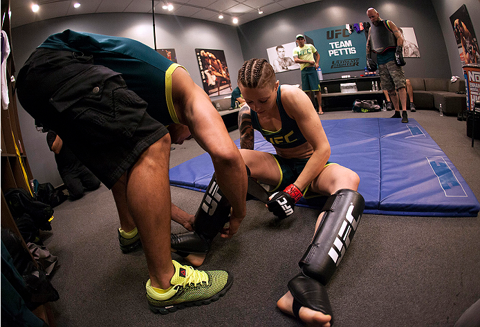 LAS VEGAS, NV - JULY 10:  Team Pettis fighter Joanne Calderwood gets ready to warm up before facing team Melendez fighter Emily Kagan during filming of season twenty of The Ultimate Fighter on July 10, 2014 in Las Vegas, Nevada. (Photo by Brandon Magnus/Zuffa LLC/Zuffa LLC via Getty Images) *** Local Caption *** Joanne Calderwood