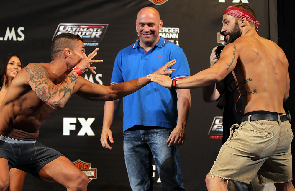 LAS VEGAS, NV - MAY 31:   (L-R) Opponents Cristiano Marcello and Sam Sicilia face off after making weight during The Ultimate Fighter Live weigh in at the Palms Casino Resort on May 31, 2012 in Las Vegas, Nevada.  (Photo by Josh Hedges/Zuffa LLC/Zuffa LLC via Getty Images)  *** Local Caption *** Cristiano Marcello; Sam Sicilia