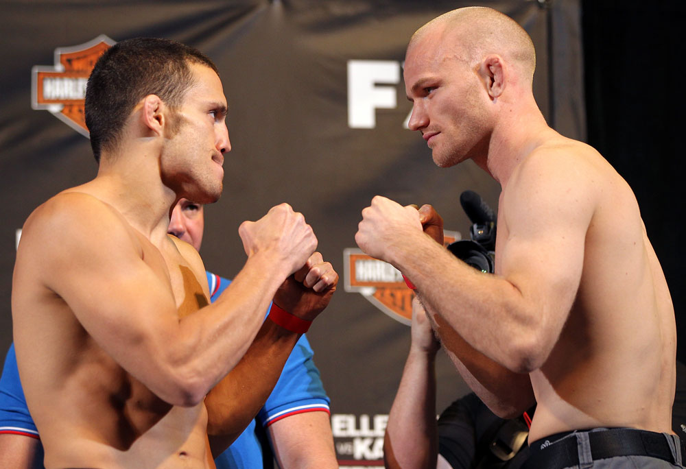 LAS VEGAS, NV - MAY 31:   (L-R) Opponents Jake Ellenberger and Martin Kampmann face off after making weight during The Ultimate Fighter Live weigh in at the Palms Casino Resort on May 31, 2012 in Las Vegas, Nevada.  (Photo by Josh Hedges/Zuffa LLC/Zuffa LLC via Getty Images)  *** Local Caption *** Jake Ellenberger; Martin Kampmann