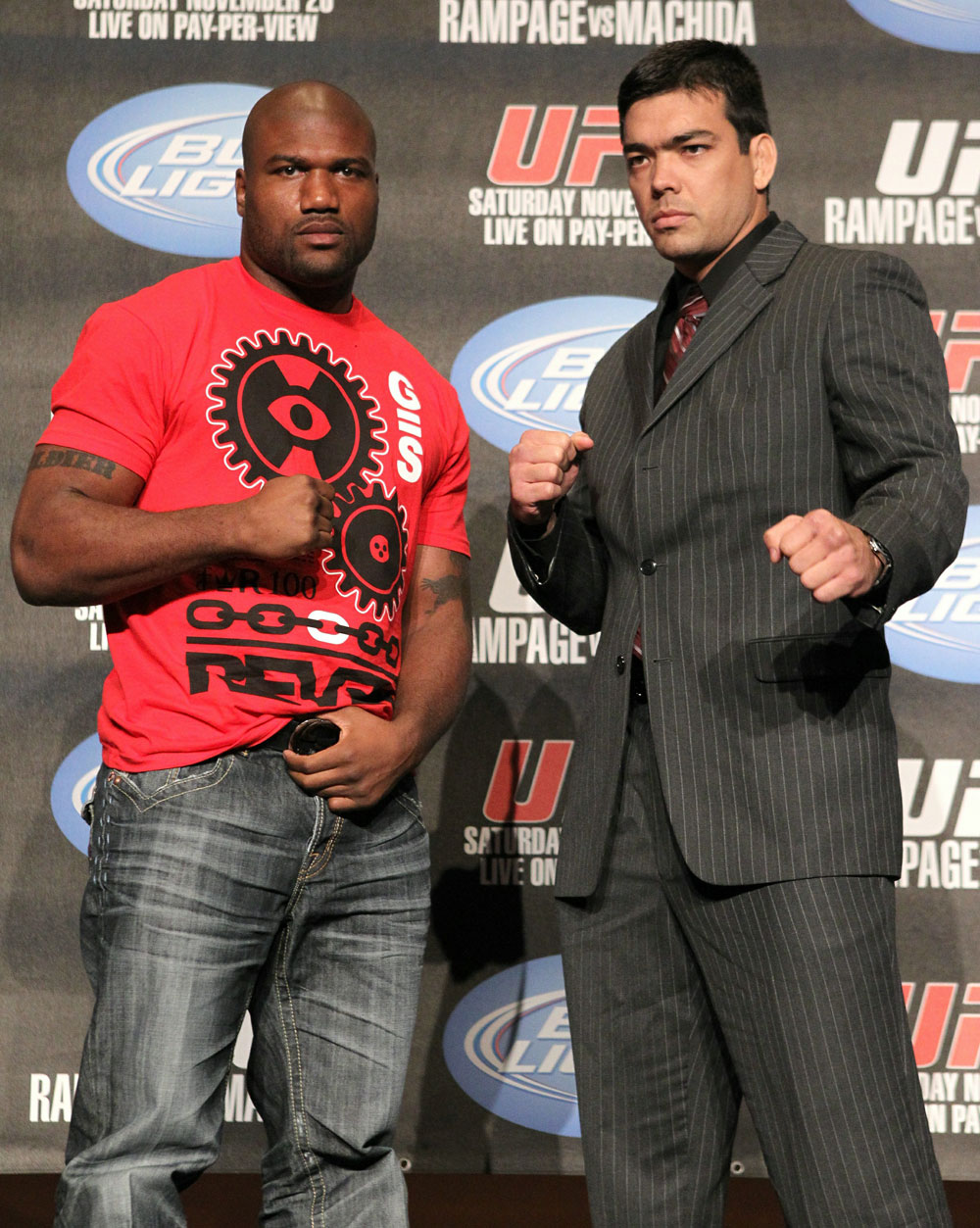 "(L-R) Quinton ""Rampage"" Jackson and Lyoto ""The Dragon"" Machida pose for photos at the UFC 123 pre-fight press conference at the MGM Grand Hotel and Casino in Detroit, Michigan on November 17, 2010  (Photo by Josh Hedges/Zuffa LLC/Zuffa LLC via Getty Images)"