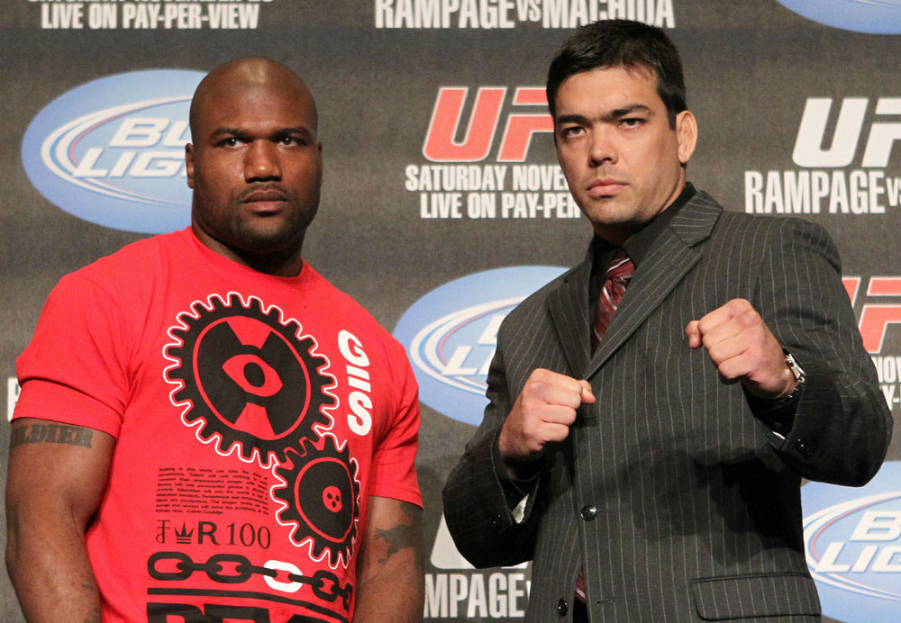 (L-R) Quinton &quot;Rampage&quot; Jackson and Lyoto &quot;The Dragon&quot; Machida pose for photos at the UFC 123 pre-fight press conference at the MGM Grand Hotel and Casino in Detroit, Michigan on November 17, 2010  (Photo by Josh Hedges/Zuffa LLC/Zuffa LLC via Getty Images)
