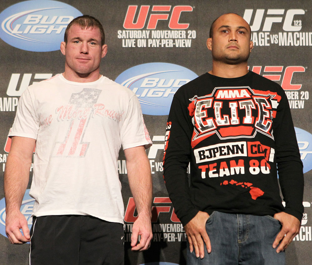 (L-R) Matt Hughes and BJ Penn pose for photos at the UFC 123 pre-fight press conference at the MGM Grand Hotel and Casino in Detroit, Michigan on November 17, 2010  (Photo by Josh Hedges/Zuffa LLC/Zuffa LLC via Getty Images)