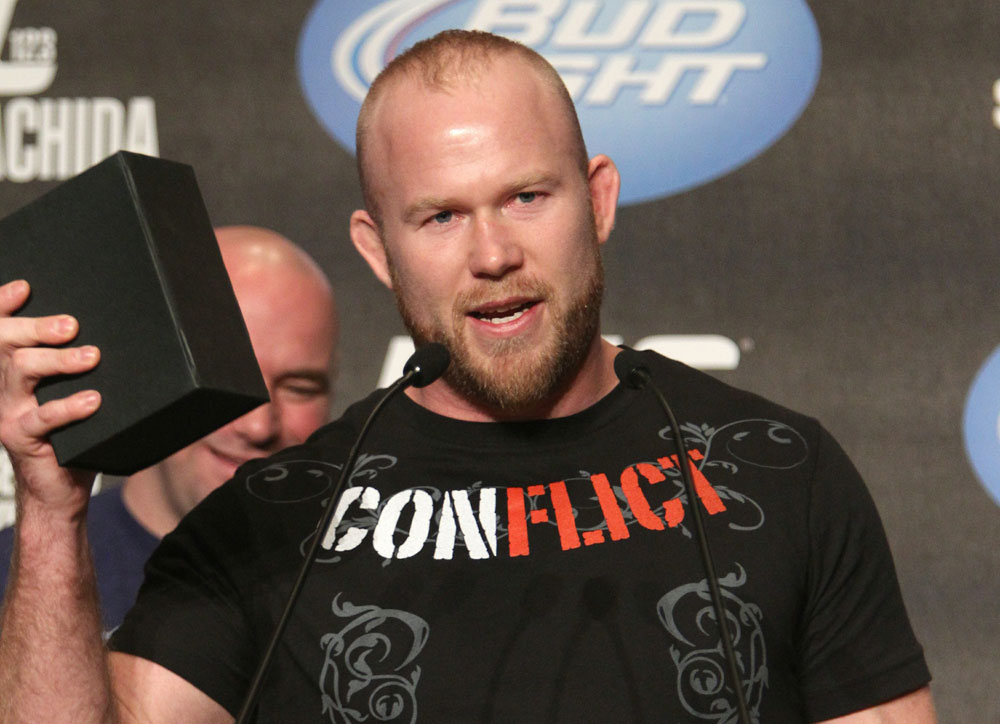 Tim Boetsch accepts the Tequila Cazadores Spirit Award at the UFC 123 pre-fight press conference at the MGM Grand Hotel and Casino in Detroit, Michigan on November 17, 2010  (Photo by Josh Hedges/Zuffa LLC/Zuffa LLC via Getty Images)