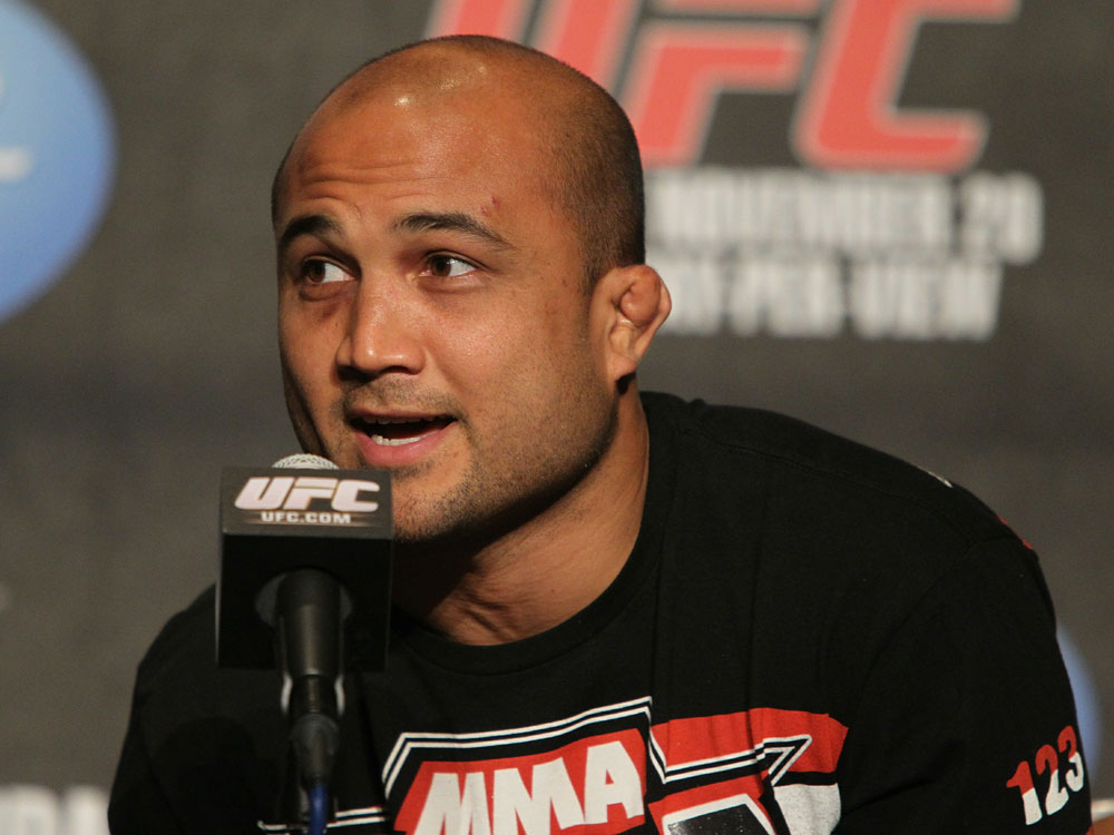 BJ Penn addresses the media at the UFC 123 pre-fight press conference at the MGM Grand Hotel and Casino in Detroit, Michigan on November 17, 2010  (Photo by Josh Hedges/Zuffa LLC/Zuffa LLC via Getty Images)