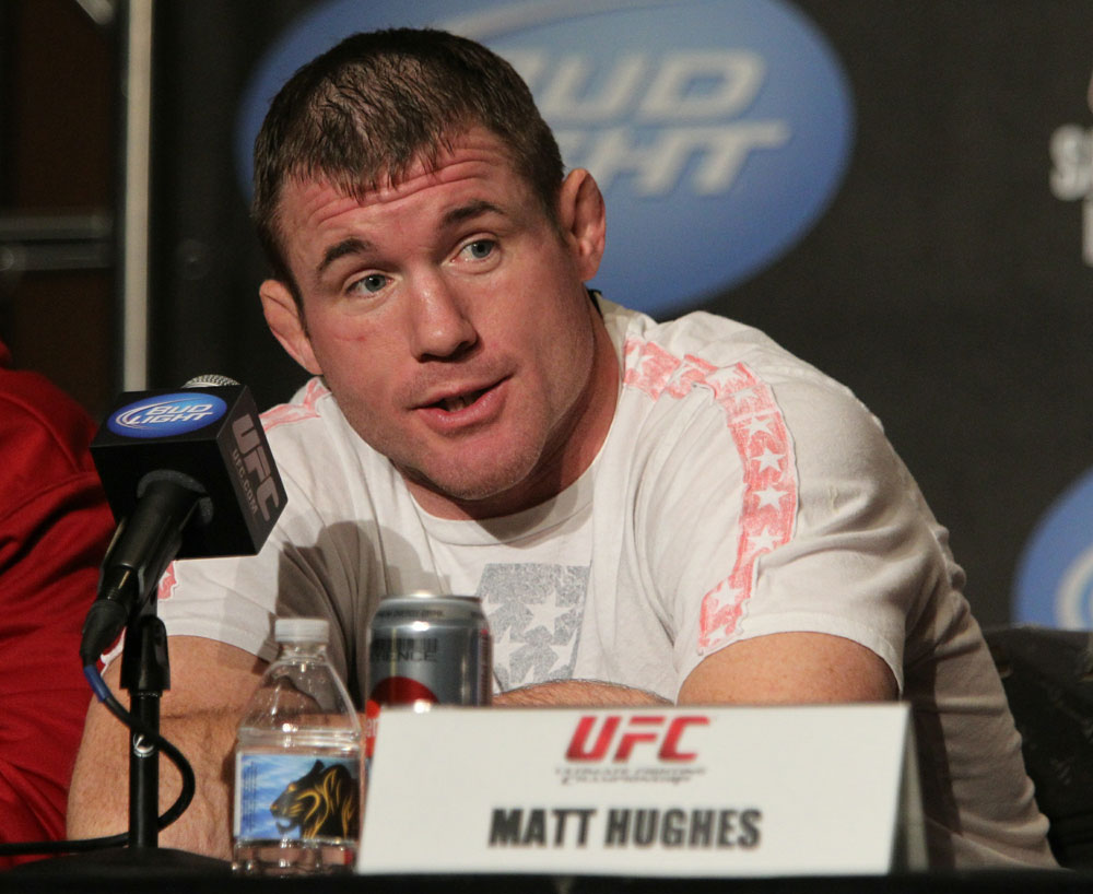 Matt Hughes at the UFC 123 pre-fight press conference at the MGM Grand Hotel and Casino in Detroit, Michigan on November 17, 2010  (Photo by Josh Hedges/Zuffa LLC/Zuffa LLC via Getty Images)