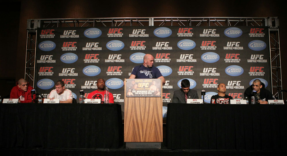 A general view of the dais at the UFC 123 pre-fight press conference at the MGM Grand Hotel and Casino in Detroit, Michigan on November 17, 2010  (Photo by Josh Hedges/Zuffa LLC/Zuffa LLC via Getty Images)