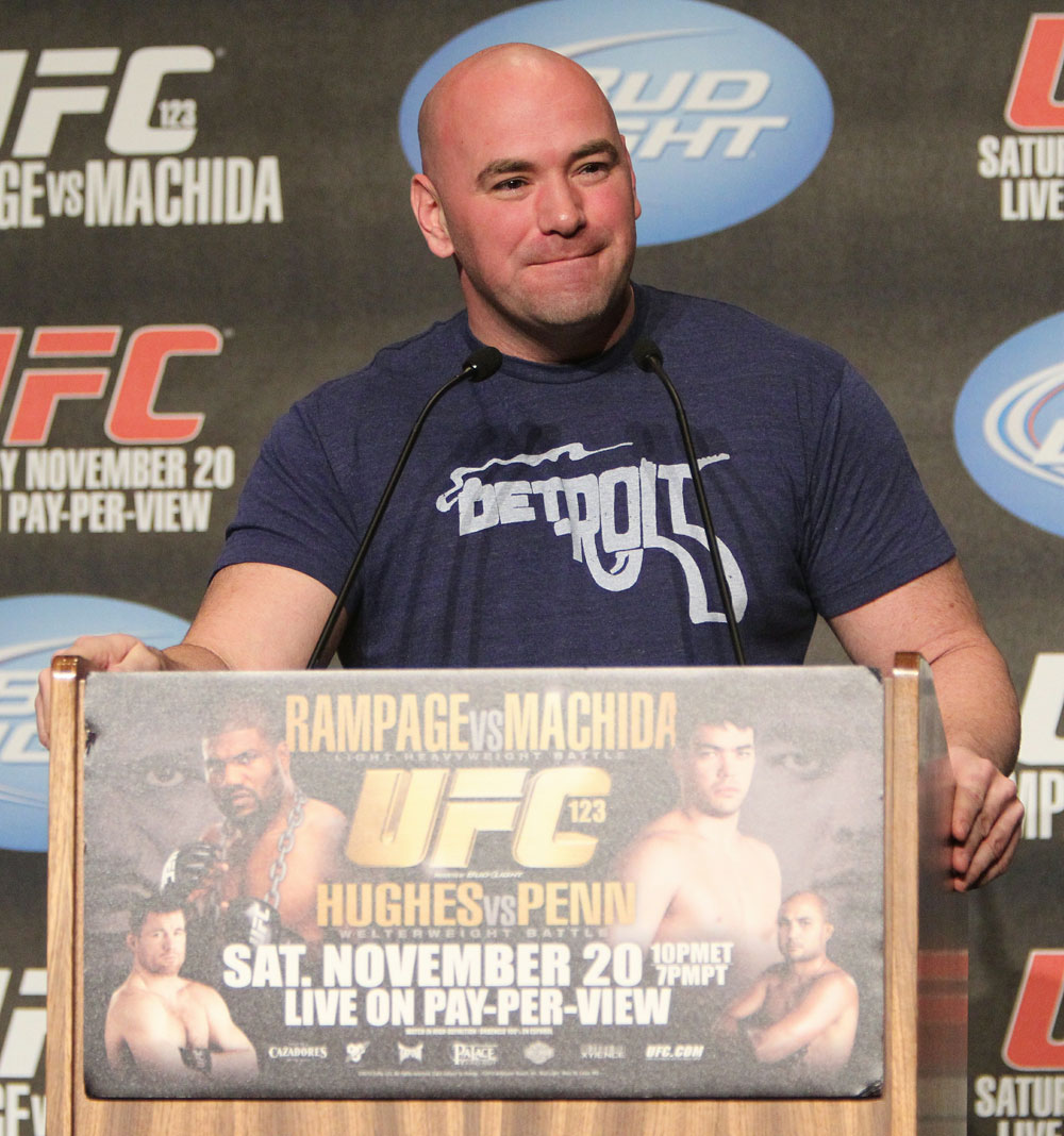 UFC President Dana White at the UFC 123 pre-fight press conference at the MGM Grand Hotel and Casino in Detroit, Michigan on November 17, 2010  (Photo by Josh Hedges/Zuffa LLC/Zuffa LLC via Getty Images)