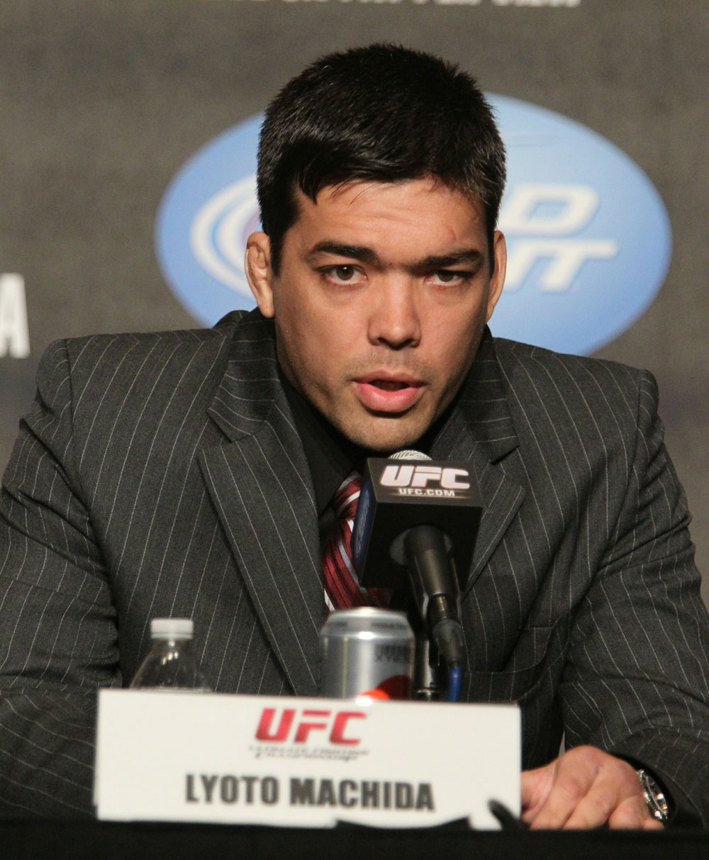 "Lyoto ""The Dragon"" Machida at the UFC 123 pre-fight press conference at the MGM Grand Hotel and Casino in Detroit, Michigan on November 17, 2010  (Photo by Josh Hedges/Zuffa LLC/Zuffa LLC via Getty Images)"