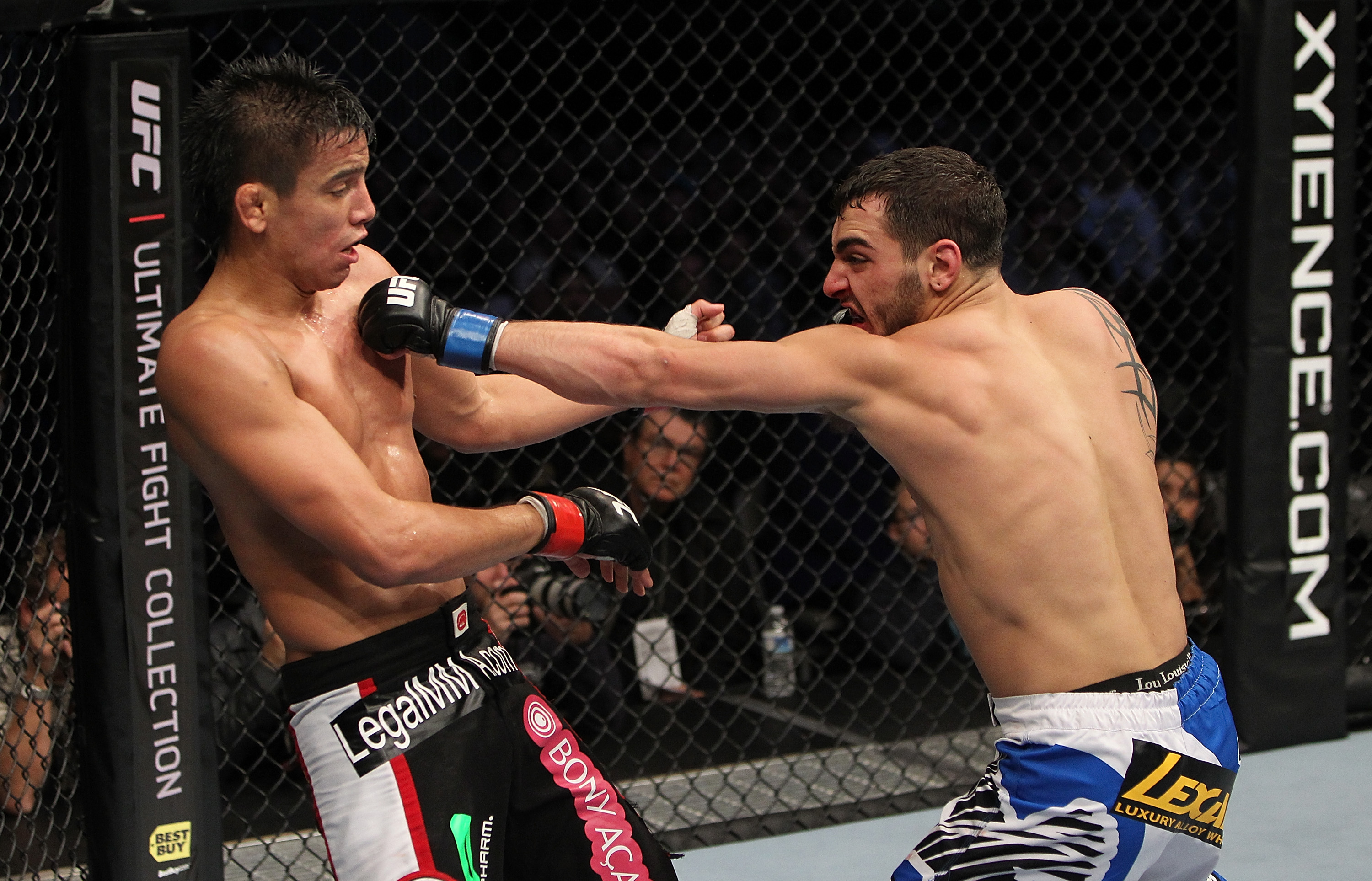 SAN JOSE, CA - NOVEMBER 19: (R-L) Nick Pace punches Miguel Torres during an UFC Bantamweight bout at the HP Pavilion in San Jose, California on November 19, 2011 in San Jose, California.  (Photo by Josh Hedges/Zuffa LLC/Zuffa LLC via Getty Images)