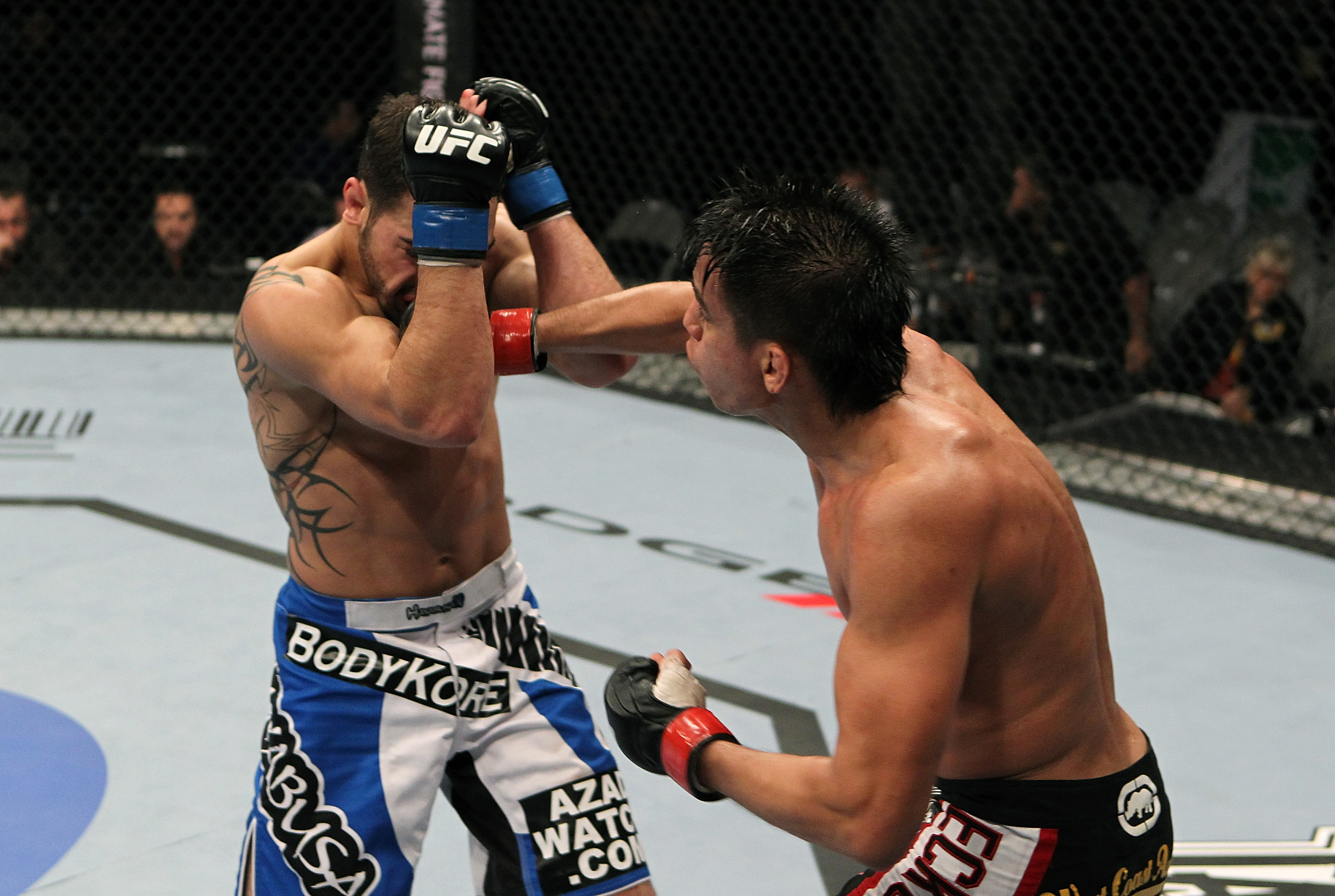 SAN JOSE, CA - NOVEMBER 19: (R-L) Miguel Torres punches Nick Pace during an UFC Bantamweight bout at the HP Pavillion in San Jose, California on November 19, 2011 in San Jose, California.  (Photo by Josh Hedges/Zuffa LLC/Zuffa LLC via Getty Images)