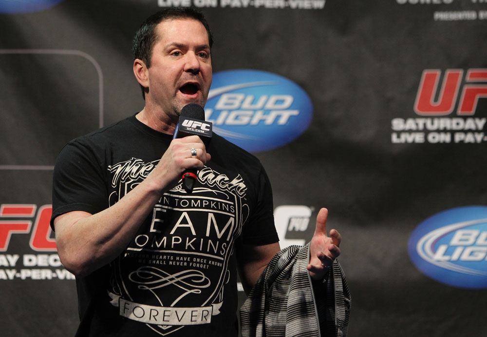 TORONTO, ON - DECEMBER 09:  UFC commentator Mike Goldberg interacts with fans during a Q&amp;A session before the UFC 140 Official Weigh-in at the Air Canada Centre on December 9, 2011 in Toronto, Canada.  (Photo by Josh Hedges/Zuffa LLC/Zuffa LLC via Getty Images)