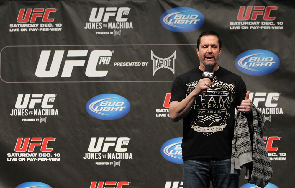 TORONTO, ON - DECEMBER 09:  UFC commentator Mike Goldberg interacts with fans during a Q&A session before the UFC 140 Official Weigh-in at the Air Canada Centre on December 9, 2011 in Toronto, Canada.  (Photo by Josh Hedges/Zuffa LLC/Zuffa LLC via Getty Images)