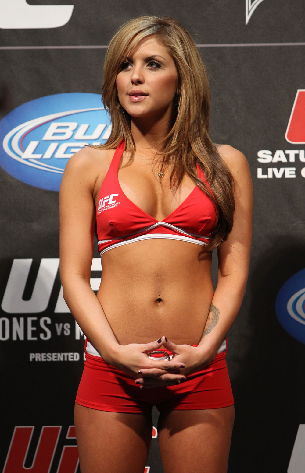 TORONTO, ON - DECEMBER 09:  UFC Octagon Girl Brittney Palmer attends the UFC 140 Official Weigh-in at the Air Canada Centre on December 9, 2011 in Toronto, Canada.  (Photo by Josh Hedges/Zuffa LLC/Zuffa LLC via Getty Images)