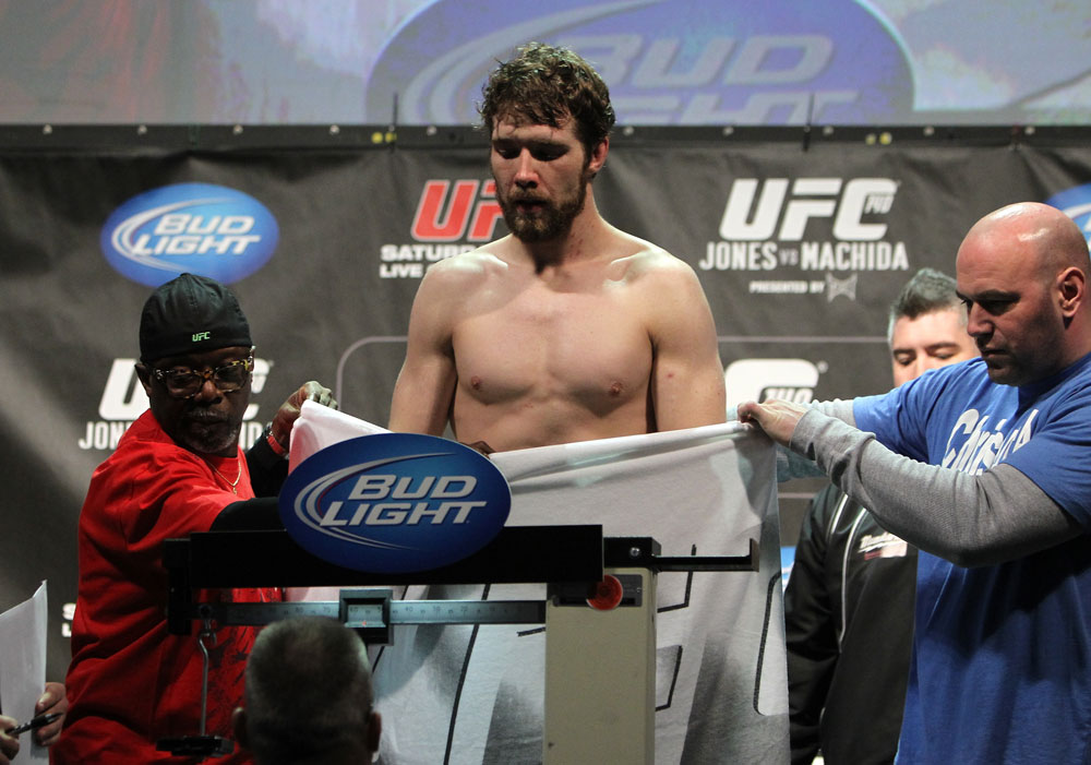 TORONTO, ON - DECEMBER 09:  Mitch Clarke weighs in during the UFC 140 Official Weigh-in at the Air Canada Centre on December 9, 2011 in Toronto, Canada.  (Photo by Josh Hedges/Zuffa LLC/Zuffa LLC via Getty Images)