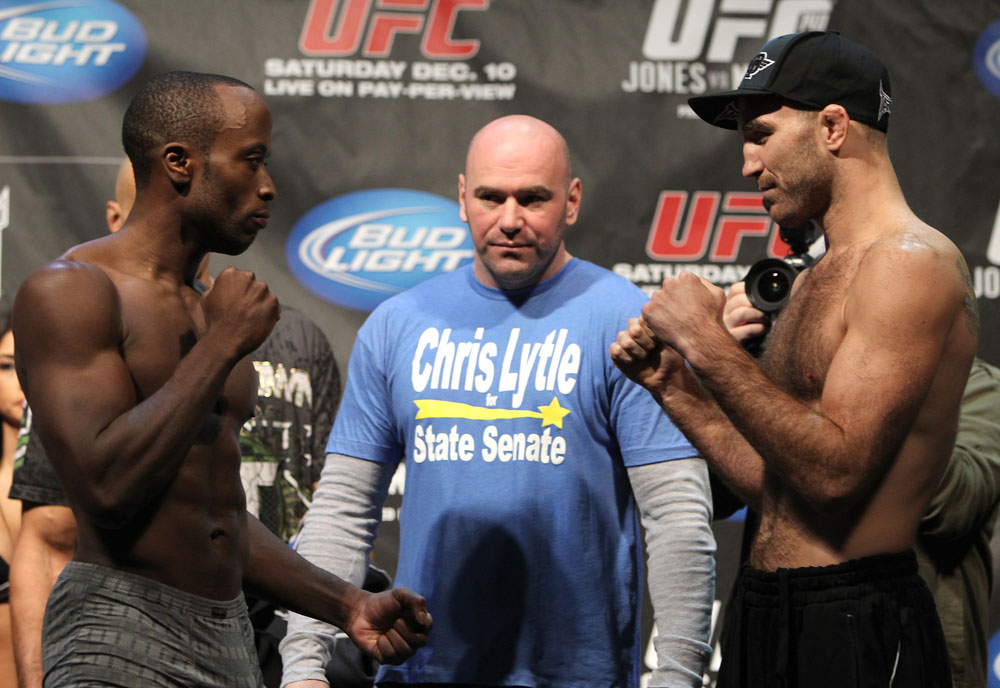TORONTO, ON - DECEMBER 09:  (L-R) Welterweight opponents Claude Patrick and Brian Ebersole face off after weighing in during the UFC 140 Official Weigh-in at the Air Canada Centre on December 9, 2011 in Toronto, Canada.  (Photo by Josh Hedges/Zuffa LLC/Zuffa LLC via Getty Images)