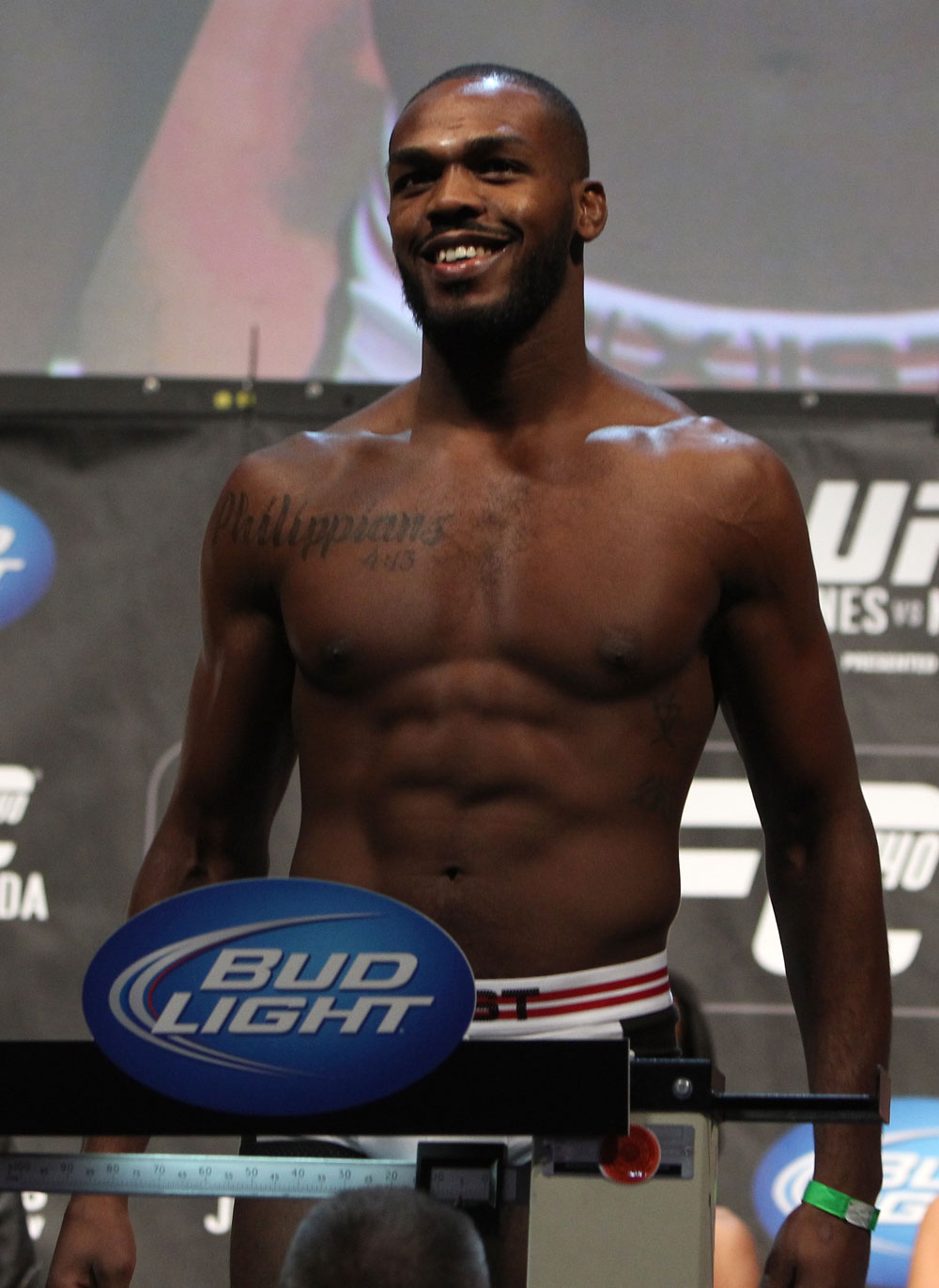 TORONTO, ON - DECEMBER 09:  UFC Light Heavyweight Champion Jon &quot;Bones&quot; Jones weighs in during the UFC 140 Official Weigh-in at the Air Canada Centre on December 9, 2011 in Toronto, Canada.  (Photo by Josh Hedges/Zuffa LLC/Zuffa LLC via Getty Images)