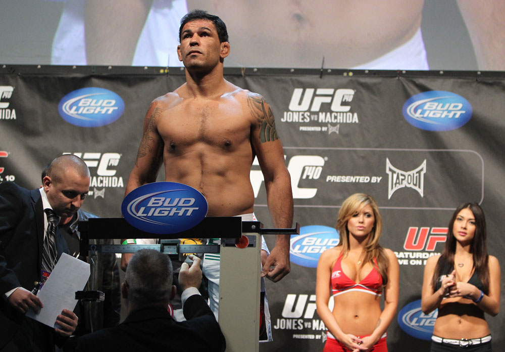 TORONTO, ON - DECEMBER 09:  Antonio Rodrigo &quot;Minotauro&quot; Nogueira weighs in during the UFC 140 Official Weigh-in at the Air Canada Centre on December 9, 2011 in Toronto, Canada.  (Photo by Josh Hedges/Zuffa LLC/Zuffa LLC via Getty Images)