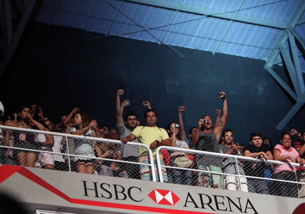 RIO DE JANEIRO, BRAZIL - JANUARY 13:  Fans react during the UFC 142 Weigh In at HSBC Arena on January 13, 2012 in Rio de Janeiro, Brazil.  (Photo by Josh Hedges/Zuffa LLC/Zuffa LLC via Getty Images)