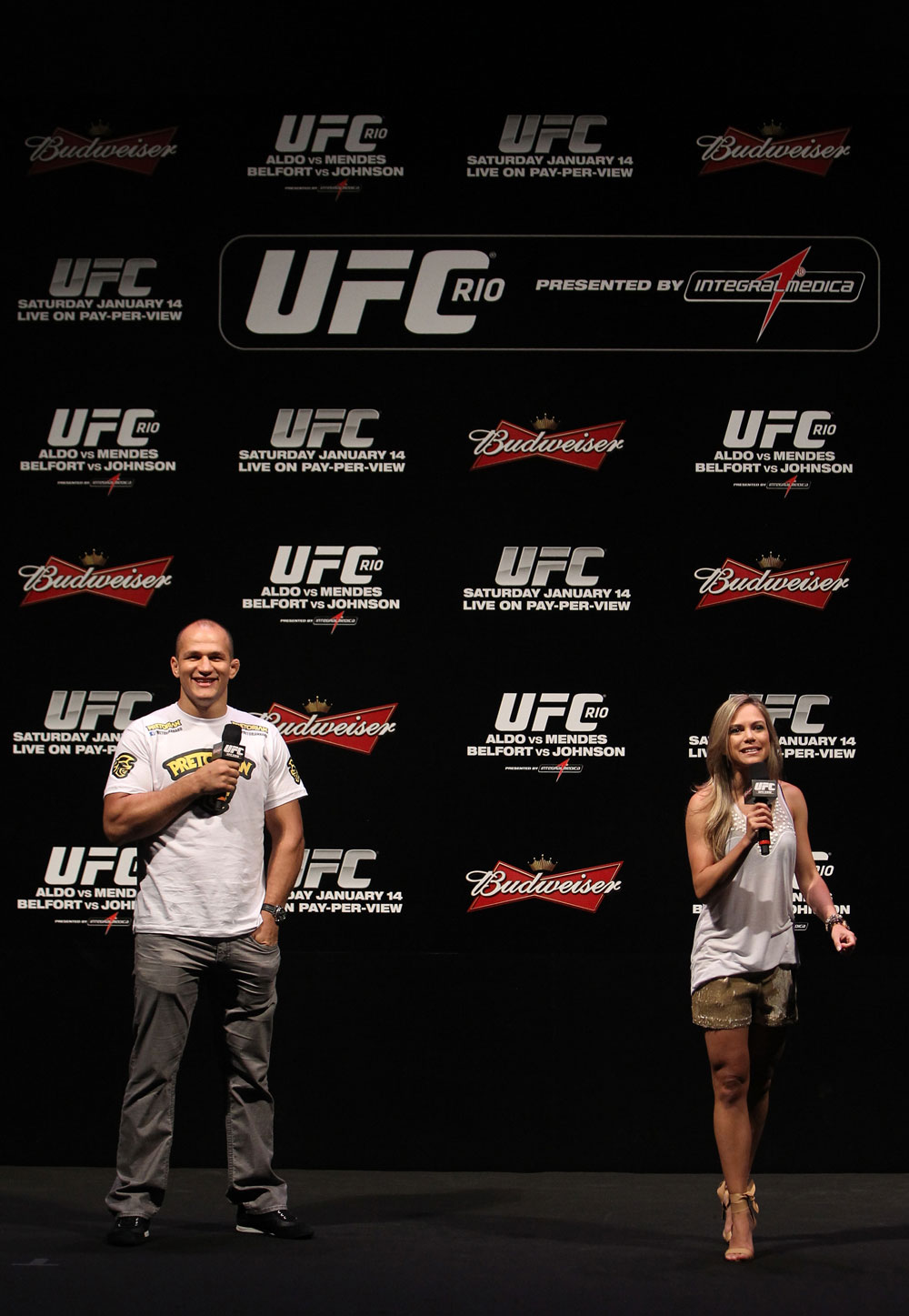 RIO DE JANEIRO, BRAZIL - JANUARY 13:  (L-R) UFC Heavyweight Champion Junior dos Santos and UFC host Paula Sack interact with fans during a Q&A session before the UFC 142 Weigh In at HSBC Arena on January 13, 2012 in Rio de Janeiro, Brazil.  (Photo by Josh Hedges/Zuffa LLC/Zuffa LLC via Getty Images)