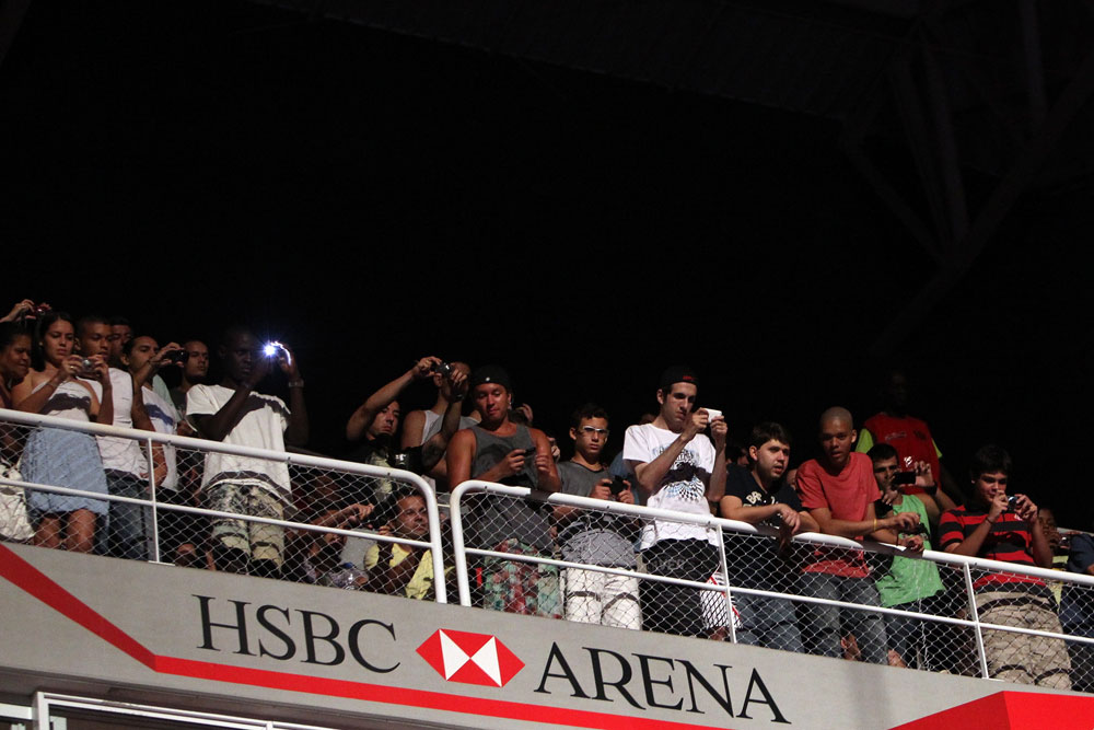 RIO DE JANEIRO, BRAZIL - JANUARY 13:  Fans pile into the upper deck of the arena before the UFC 142 Weigh In at HSBC Arena on January 13, 2012 in Rio de Janeiro, Brazil.  (Photo by Josh Hedges/Zuffa LLC/Zuffa LLC via Getty Images)