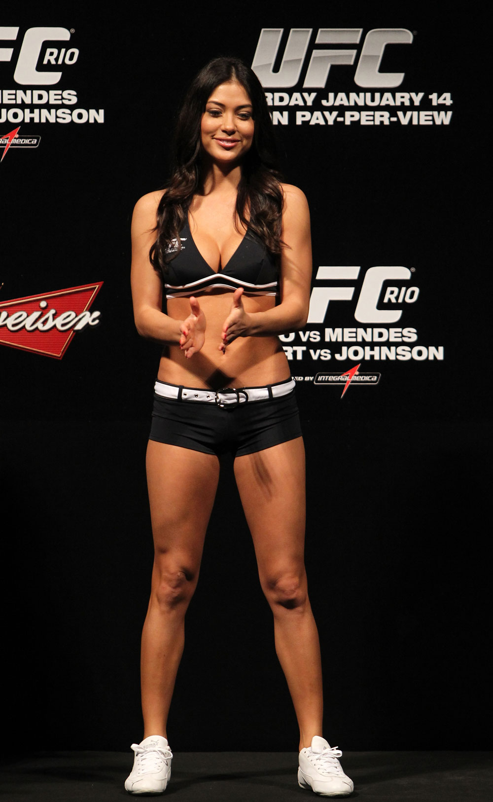 RIO DE JANEIRO, BRAZIL - JANUARY 13:  UFC Octagon Girl Arianny Celeste attends the UFC 142 Weigh In at HSBC Arena on January 13, 2012 in Rio de Janeiro, Brazil.  (Photo by Josh Hedges/Zuffa LLC/Zuffa LLC via Getty Images)