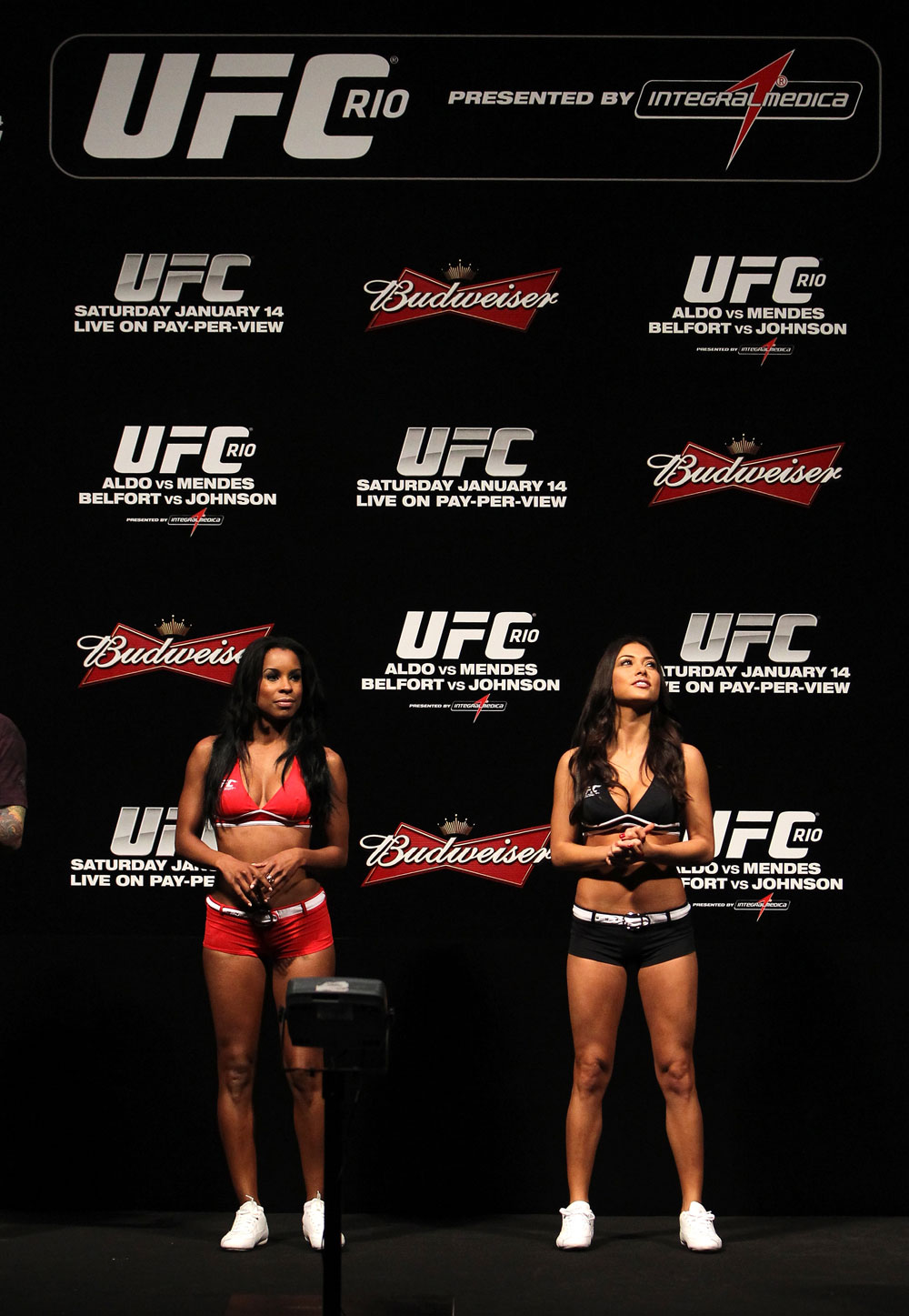 RIO DE JANEIRO, BRAZIL - JANUARY 13:  (L-R) UFC Octagon Girls Chandella Powell and Arianny Celeste attend the UFC 142 Weigh In at HSBC Arena on January 13, 2012 in Rio de Janeiro, Brazil.  (Photo by Josh Hedges/Zuffa LLC/Zuffa LLC via Getty Images)