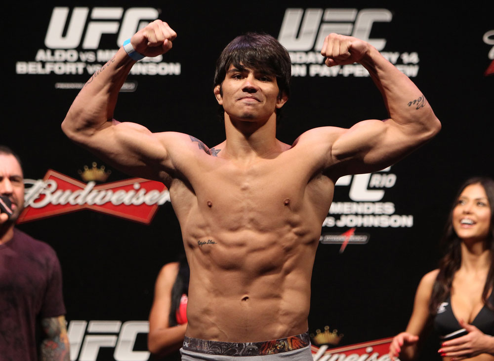 RIO DE JANEIRO, BRAZIL - JANUARY 13:  Erick Silva weighs in during the UFC 142 Weigh In at HSBC Arena on January 13, 2012 in Rio de Janeiro, Brazil.  (Photo by Josh Hedges/Zuffa LLC/Zuffa LLC via Getty Images)