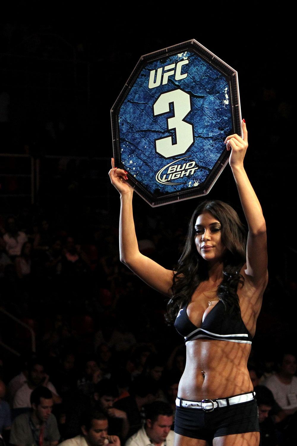 RIO DE JANEIRO, BRAZIL - JANUARY 14:  UFC Octagon Girl Arianny Celeste looks on during the Ricardo Funch versus Mike Pyle in a welterweight bout during UFC 142 at HSBC Arena on January 14, 2012 in Rio de Janeiro, Brazil.  (Photo by Josh Hedges/Zuffa LLC/Zuffa LLC via Getty Images)