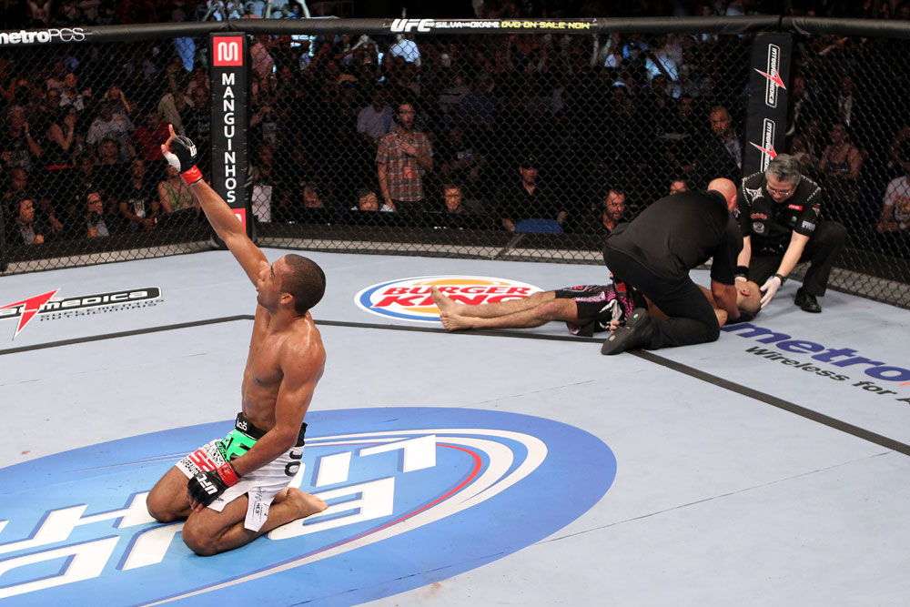 RIO DE JANEIRO, BRAZIL - JANUARY 14:  Edson Barboza celebrates after knocking out Terry Etim in a lightweight bout during UFC 142 at HSBC Arena on January 14, 2012 in Rio de Janeiro, Brazil.  (Photo by Josh Hedges/Zuffa LLC/Zuffa LLC via Getty Images)