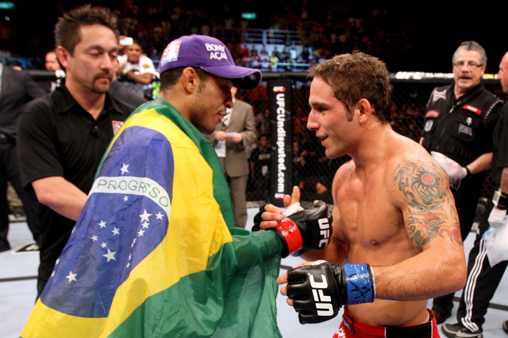 RIO DE JANEIRO, BRAZIL - JANUARY 14: Jose Aldo (L) shakes hands with Chad Mendes (R) after the  featherweight bout during UFC 142 at HSBC Arena on January 14, 2012 in Rio de Janeiro, Brazil. (Photo by Josh Hedges/Zuffa LLC/Zuffa LLC via Getty Images)