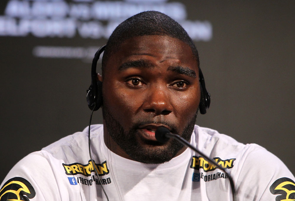 RIO DE JANEIRO, BRAZIL - JANUARY 12:  Anthony Johnson attends the final UFC 142 pre-fight press conference at the Copacabana Palace Hotel on January 12, 2012 in Rio de Janeiro, Brazil.  (Photo by Josh Hedges/Zuffa LLC/Zuffa LLC via Getty Images)