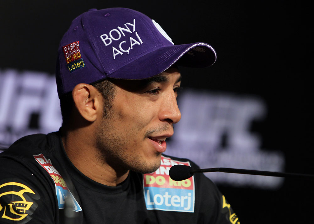 RIO DE JANEIRO, BRAZIL - JANUARY 12:  UFC Featherweight Champion Jose Aldo attends the final UFC 142 pre-fight press conference at the Copacabana Palace Hotel on January 12, 2012 in Rio de Janeiro, Brazil.  (Photo by Josh Hedges/Zuffa LLC/Zuffa LLC via Getty Images)