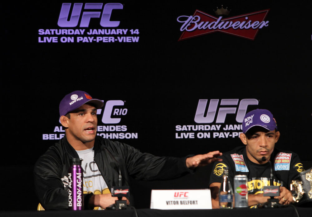 RIO DE JANEIRO, BRAZIL - JANUARY 12:  (L-R) Vitor Belfort and Jose Aldo attend the final UFC 142 pre-fight press conference at the Copacabana Palace Hotel on January 12, 2012 in Rio de Janeiro, Brazil.  (Photo by Josh Hedges/Zuffa LLC/Zuffa LLC via Getty Images)