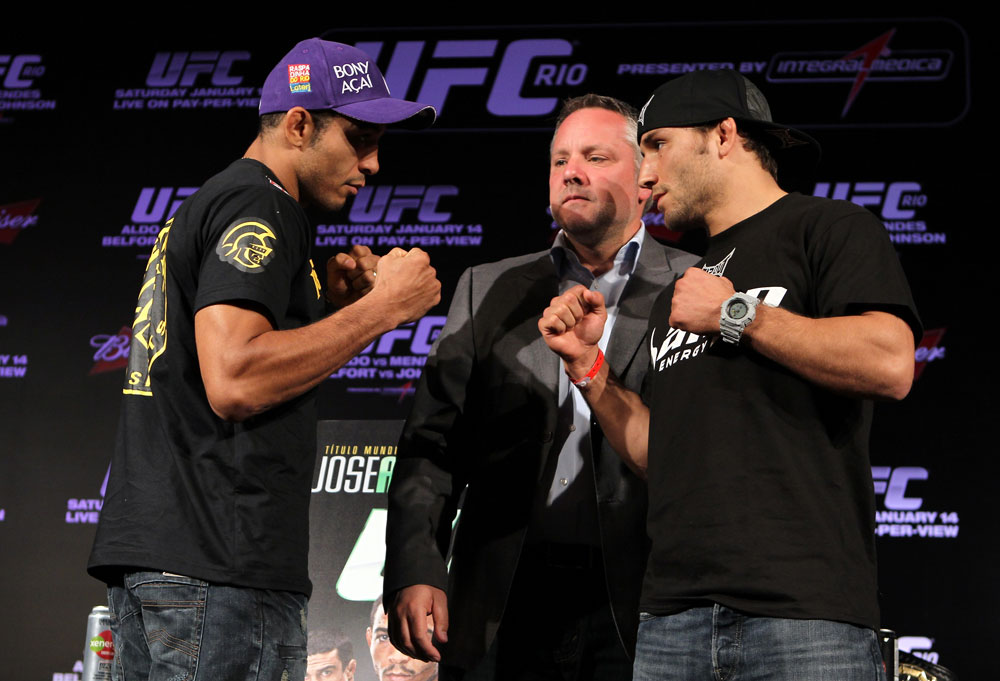 RIO DE JANEIRO, BRAZIL - JANUARY 12:  (L-R) UFC Featherweight Champion Jose Aldo faces off with Chad Mendes during the UFC 142 pre-fight presser at the Copacabana Palace Hotel (Photo by Josh Hedges/Zuffa LLC/Zuffa LLC via Getty Images)