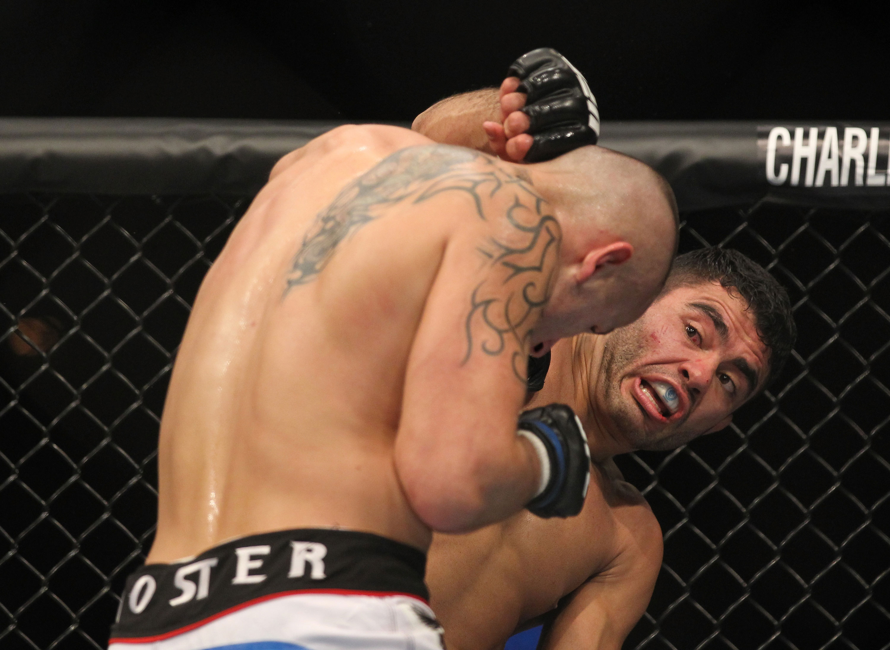 LAS VEGAS, NV - FEBRUARY 04:  Rafael Natal (right) punches Michael Kuiper during the UFC 143 event at Mandalay Bay Events Center on February 4, 2012 in Las Vegas, Nevada.  (Photo by Josh Hedges/Zuffa LLC/Zuffa LLC via Getty Images) *** Local Caption *** Rafael Natal; Michael Kuiper