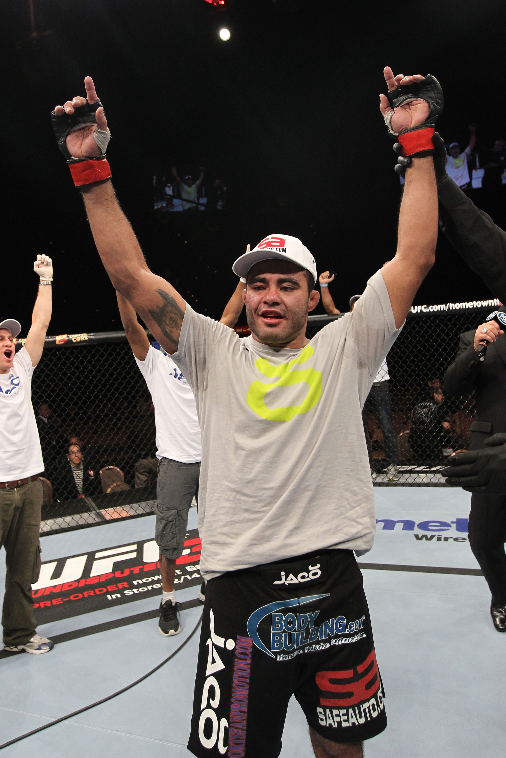 LAS VEGAS, NV - FEBRUARY 04:  Rafael Natal is declared the winner in his fight against Michael Kuiper during the UFC 143 event at Mandalay Bay Events Center on February 4, 2012 in Las Vegas, Nevada.  (Photo by Nick Laham/Zuffa LLC/Zuffa LLC via Getty Images) *** Local Caption *** Rafael Natal