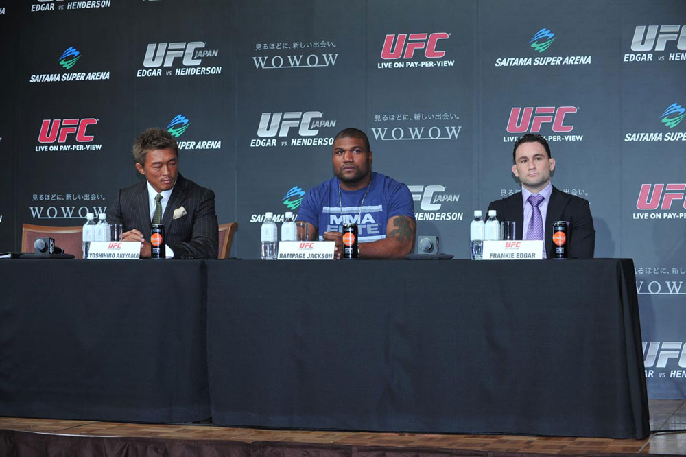(L-R) Yoshihiro Akiyama, Rampage Jackson and Frankie Edgar