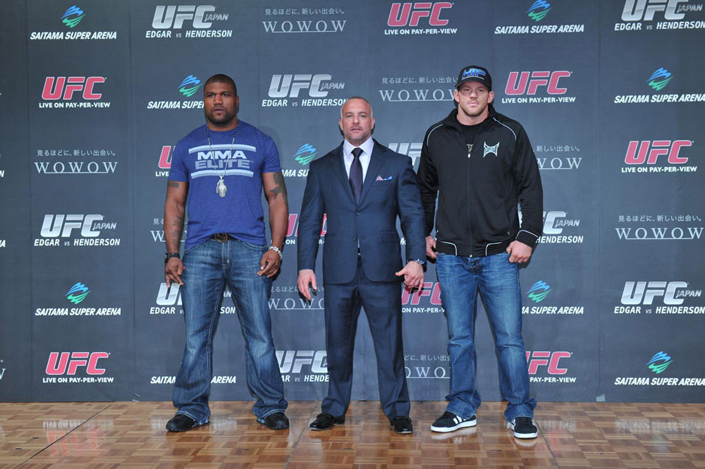 (L-R) Rampage Jackson, UFC CEO Lorenzo Fertitta and Ryan Bader