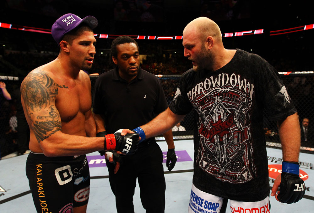 ATLANTA, GA - APRIL 21:  Brendan Schaub (L) shakes hands with Ben Rothwell after Rothwell defeated him by TKO in their heavyweight bout for UFC 145 at Philips Arena on April 21, 2012 in Atlanta, Georgia.  (Photo by Al Bello/Zuffa LLC/Zuffa LLC via Getty Images)